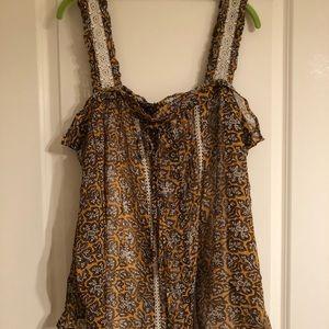NWT Anthropologie A+ yellow sleeveless blouse, 18W